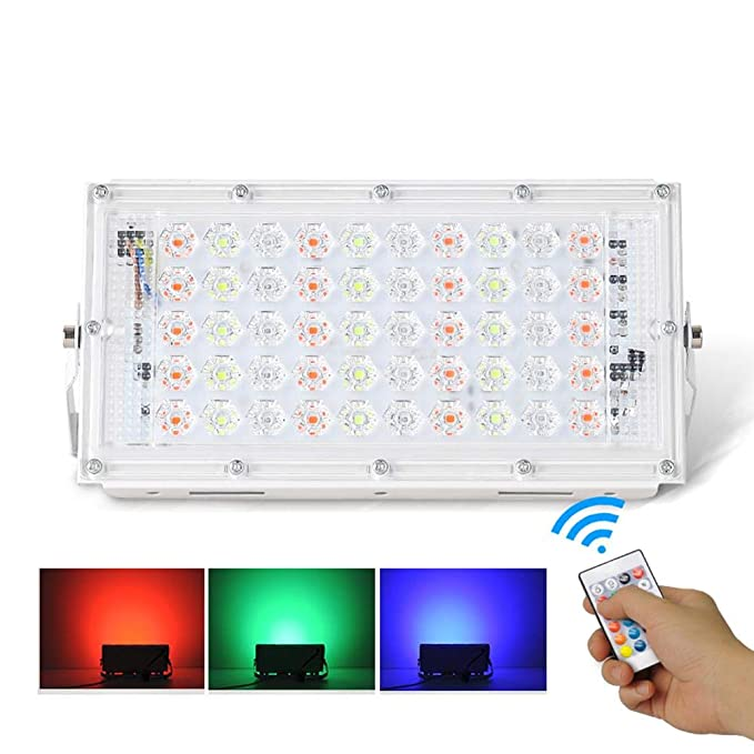 50W LED Light Flood RGB Colour Changing Floodlight Outdoor Security Garden Lamp