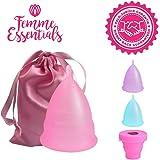 Copa Menstrual Femme Essentials|100% de Silicona Hipoalergénica para Uso Médico|Ecológica, Segura, Cómoda y Higiénica| Tamaño:Grande|Incluye una Bolsa de Algodón Gratuita para Guardar la Copa|Rosa