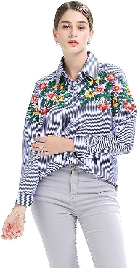 Cnsdy Camisas para Mujeres Bordado Loose Tops de Rayas Verticales Camisetas de Manga Larga: Amazon.es: Deportes y aire libre