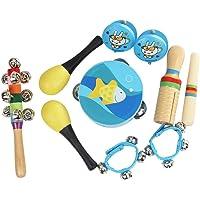 KKmoon 10 pçs/set Brinquedos Musicais Instrumentos de Percussão Banda Ritmo Kit Incluindo Pandeiro Maracas Castanholas…
