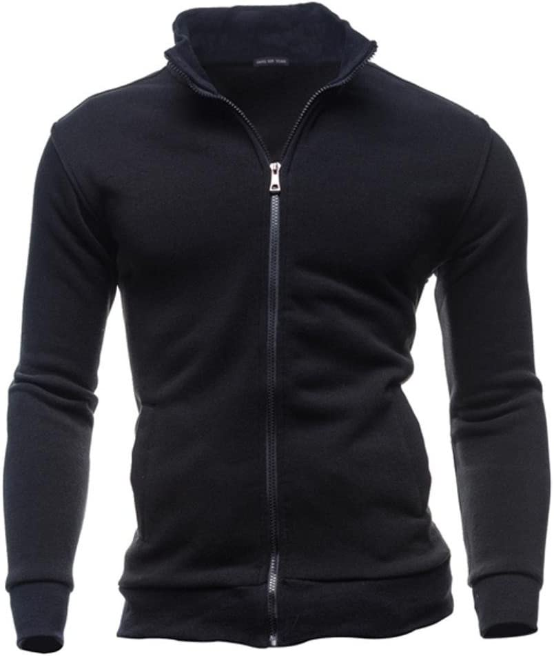 Leyorie Men Leisure Sports Cardigan Zipper Sweatshirt Retro Tops Full-Zip Jacket Coat with Pocket XXXL, Navy