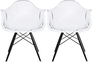 2xhome Set of 2 Clear Plastic Armchair Natural Wood Legs Eiffel Dining Room Chair Lounge Chair Arm Chair Arms Chairs Seats Wooden Wood Leg Wire Leg (Clear - Black Leg)