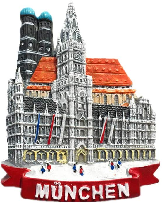 Munich Germany Notre Dame Cathedral 3D Travel Souvenir Gift Fridge Magnet Home & kitchen Decor Polyresin Craft Refrigerator Magnet Collection