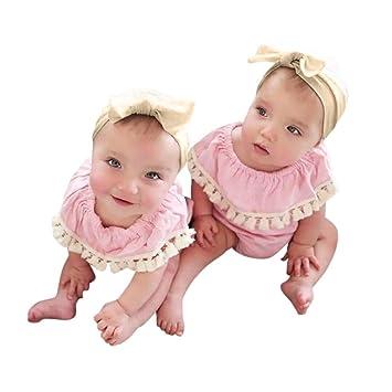 Mono Bebe, Amlaiworld Recién Nacido Bebé Chicas niñas Borla Mameluco Mono Corto + Diademas Conjunto de Ropa Bebés 3 Mes - 2 Años