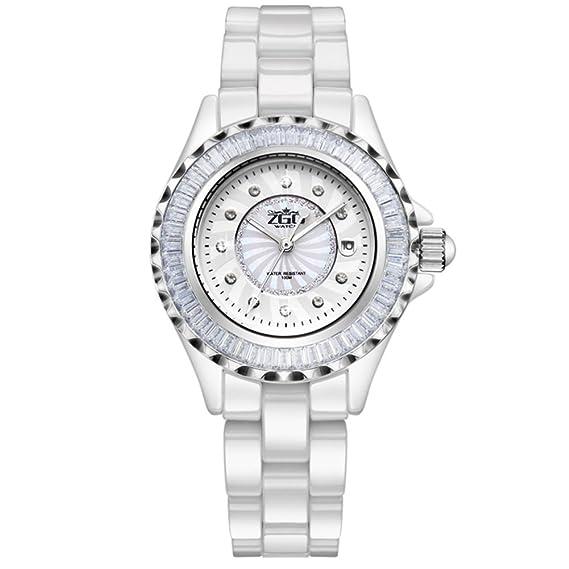 Banda cerámica blanca mujer reloj/Tendencia de la luminosa simplicidad de reloj de cuarzo diamante