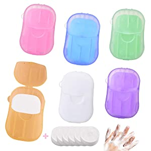 Disposable Hand Washing Soap Paper Pocket Sheets Outdoor(6 Pack, 120 Sheets), Kids Scented Toiletry Paper Soap Mini for travelling, camping, Picnic, BBQ