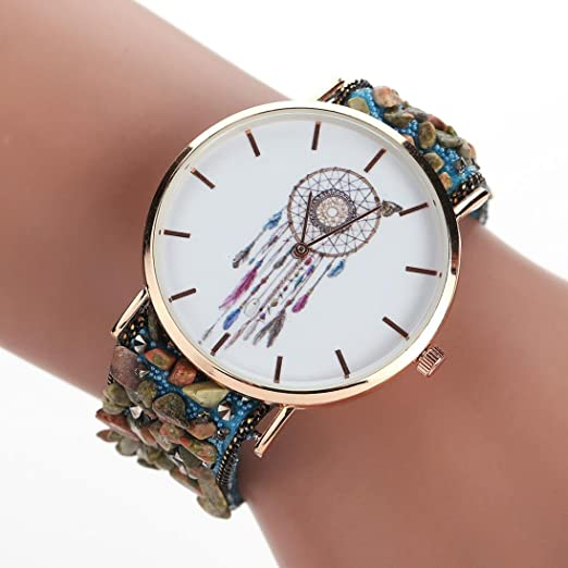 Hot Sale! AMA(TM) Women Fashion Wrap Around Bracelet Watches Cobblestones Chain Wristwatch Gifts (E)