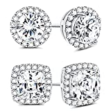 Sllaiss 925 Sterling Silver Cubic Zirconia Halo Stud Earrings for Women Round & Square Cut CZ Earrings Set