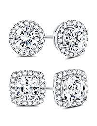 3f98e55af Sllaiss 925 Sterling Silver Cubic Zirconia Halo Stud Earrings for Women  Round & Square Cut CZ
