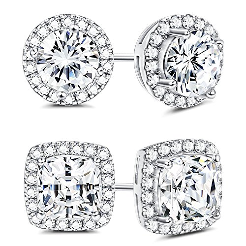 Sllaiss 925 Sterling Silver Cubic Zirconia Halo Stud Earrings for Women Round & Square Cut CZ Earrings (Silver Mens Fashion)