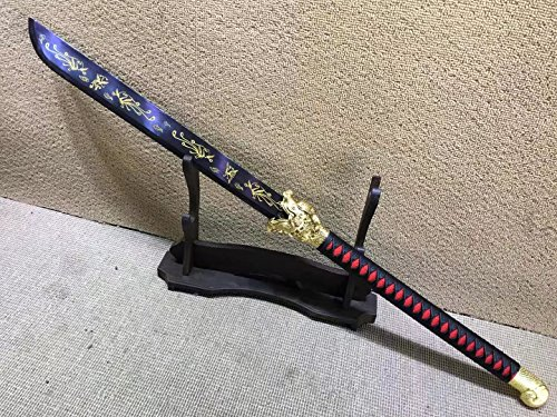 Lin creative Pudao,Long Handled Broadsword,High Manganese Steel Blue Blade,Leather Scabbard,Length 38.5 inch