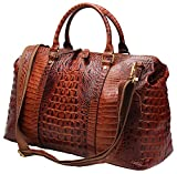 Genuine Leather Travel Duffels Overnight Bag Crocodile Pattern Gym Tote #D-603 (Brown)