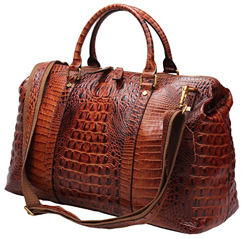 Genuine Leather Travel Duffels Overnight Bag Crocodile Pattern Gym Tote #D-603 (Brown) by TINTAO