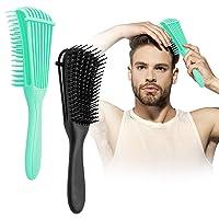Detangling Brush, 2 Pcs Pain Free ez Detangler Hair Brushes Detangling Comb for Afro America/African Women Men Kids Nature Black Hair Textured 3a to 4c Kinky Wavy/Curly/Coily/Wet/Dry/Thick/Long Hair