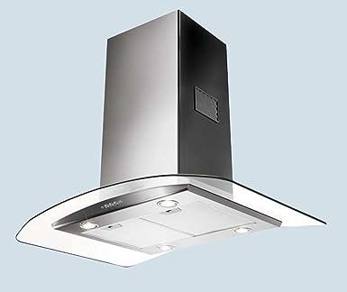 Faber 90 cm Tratto de acero inoxidable y cristal isla campana extractora/ventilador Extractor 900 mm (2 años de garantía del fabricante): Amazon.es: Grandes electrodomésticos
