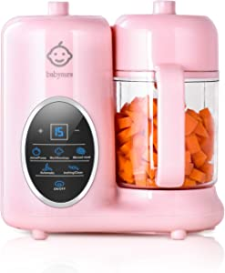 Babynurs Baby Food Maker, 8 in 1 Baby Food Processor Blender Grinder Steamer with Wide Opening and Detachable Water Tank, Multifunctional Mills Machine for Infants and Toddlers Purees, Stainless Steel Steam Basket, Touch Control Panel