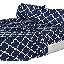 4 Piece Bed Sheets Set (Queen, Navy) 1 Flat Sheet 1 Fitted Sheet and 2 Pillow Cases - Hotel Quality Brushed Velvety Microfiber - Luxurious - Extremely Durable - by Utopia Bedding