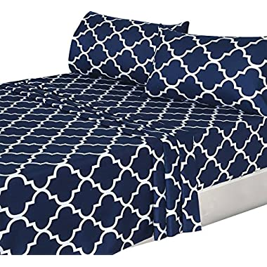 4 Piece Bed Sheets Set (Queen, Blue) Flat Sheet + Fitted Sheet + 2 Pillow Cases, Hotel Quality Brushed Velvety Microfiber, Wrinkle, Fade & Stain Resistant - Luxurious, Comfortable, Breathable, Soft & Extremely Durable - By Utopia Bedding