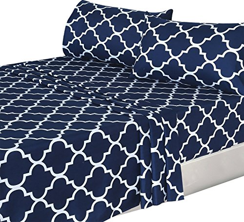 4 Piece Bed Sheets Set  Flat Sheet + Fitted Sheet + 2 Pillow