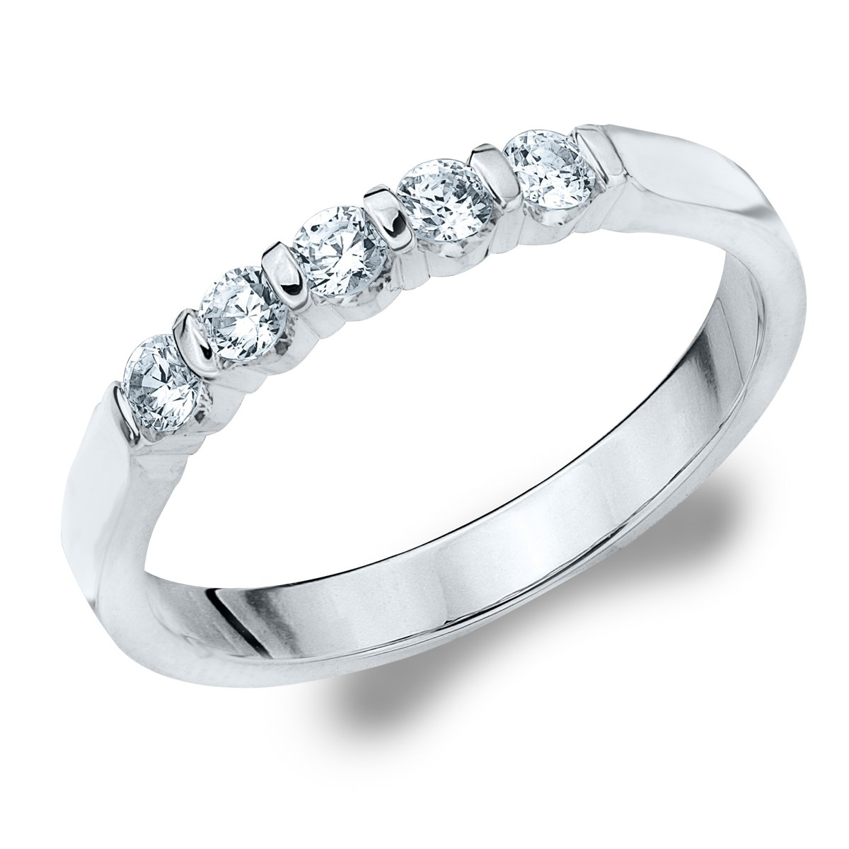 5 Stone Diamond Ring for Women.25 CT in 10K Gold, 5 Stone Diamond Wedding Anniversary Band