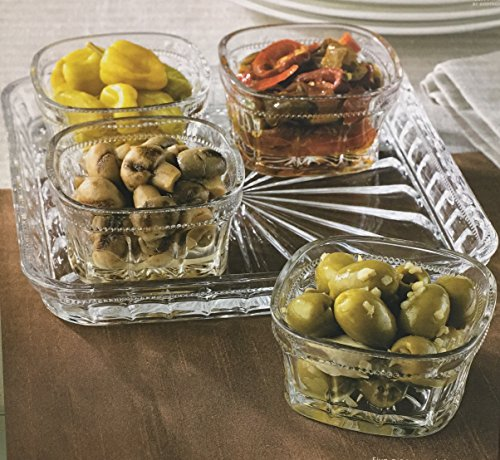 Beautiful Appetizer Relish Serving Tray with 4 Glass Condiment Bowls, Can Hold Snack, Dried Fruits, Dips, Nuts, Candies, and More. (Vintage Snack)