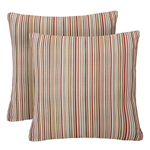 Pack of 2 Simpledecor Throw Pillow Covers Couch Pillow Shells,20X20 Inches,Jacquard Colorful Stripes,Multicolor Red (Couch Striped)