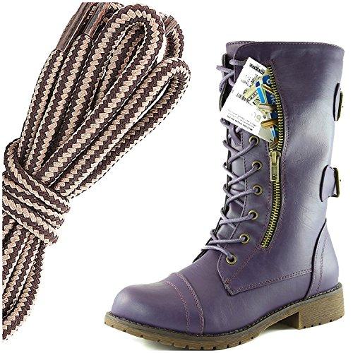 Dailyshoes Femmes Lace Militaire Boucle Boucle Bottes De Combat Mi Genou Haute Carte De Crédit Exclusive Poche, Marron Taupe Doux Violet