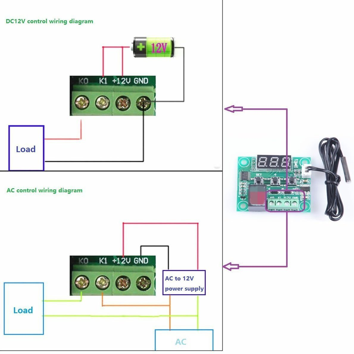 Matee Micro Digital Thermostat Dc12v 50 110c 58f To 230f On Stc 1000 Wiring I Wired My Device According This Diagram Temperature Controller Board Electronic Control Module Switch Sensor