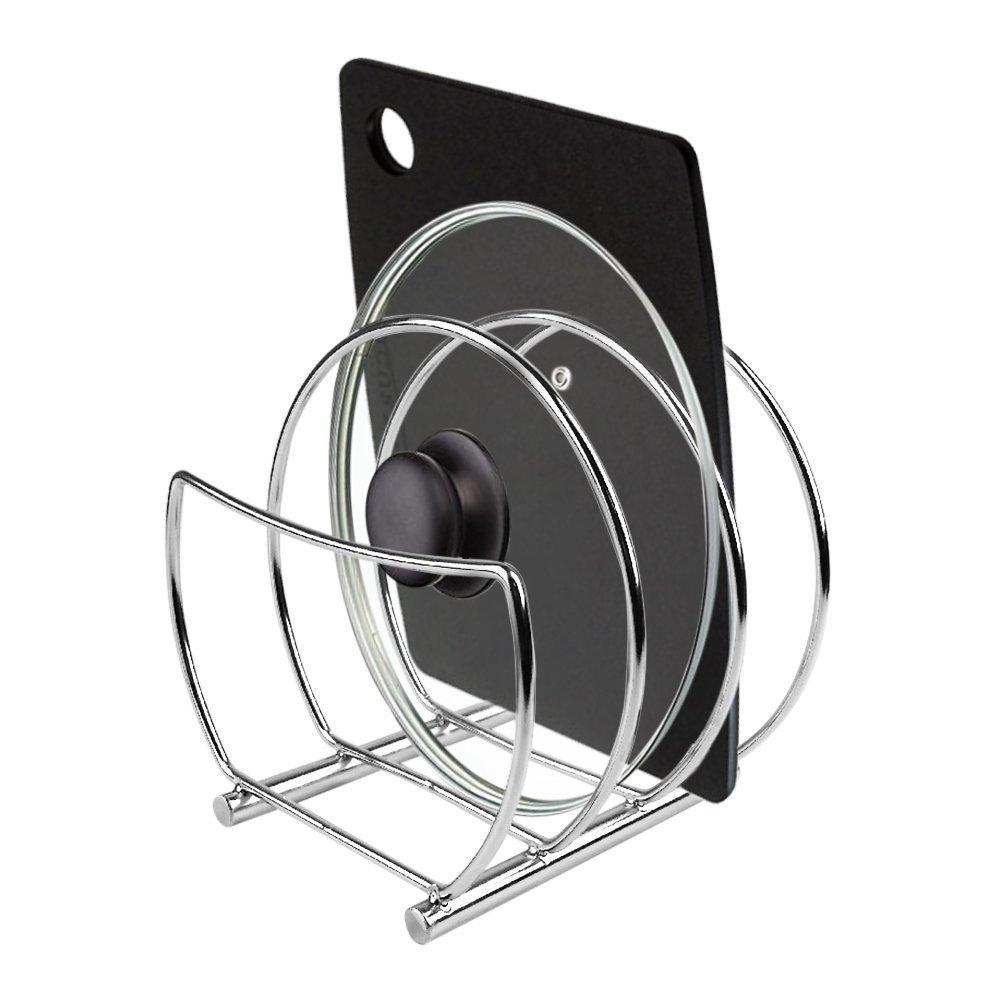 My Houseware Rack | Set of 2 Premium Pantry Pot Lid Kitchen Organizer Shelf Bakeware Storage | Anti Rust Stainless Steel Circular Plate Dryer Tray Sink Holder | Silver | 1229.03