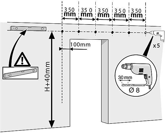 PrimeMatik - Rail guía para Puerta corredera con Cubierta de Madera MDF de Color Cobalto de 2m: Amazon.es: Electrónica