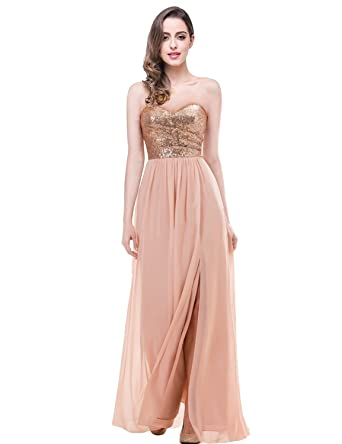 bf01bd927fe Lanshini Sexy Strapless Chiffon Long Evening Dress A Line Sequin Split  Formal Gowns Gowns Rose Gold