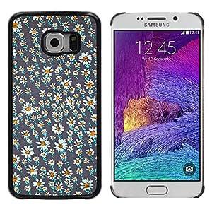 rígido protector delgado Shell Prima Delgada Casa Carcasa Funda Case Bandera Cover Armor para Samsung Galaxy S6 EDGE SM-G925 /Wallpaper Daisy Grey White Summer/ STRONG