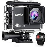 【進化版 タッチパネル 4K高画質】 WIMIUS アクションカメラ 高画素 wifi搭載 リモコン付き SONYセンサー 40M防水 バッテリー2個 充電器付き 170度広角レンズ ドライブレコーダーとして使用可能 スポーツカメラ ウェアラブルカメラ アタッチメント豊富 AI8000(ブラック)