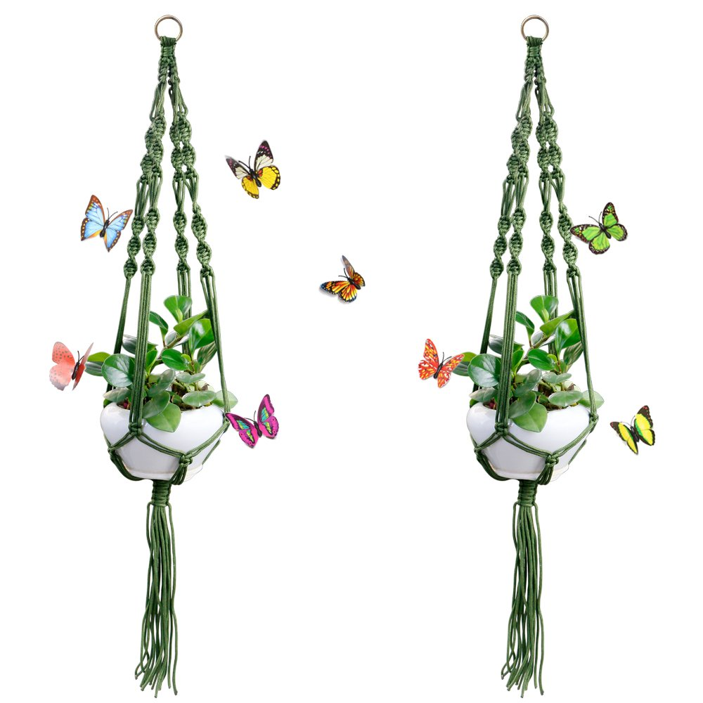 Five-of-Five 2 Pack Macrame Plant Hanger with Ring and Butterfly for Indoor Outdoor Plant Decoration, 4 Legs Flower Pot Plant Holder, 41.3 Inches Green