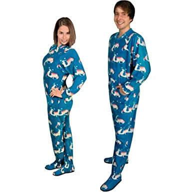 Footie Pajamas for Adults with Butt Flap Italian Scooter Fleece, 3