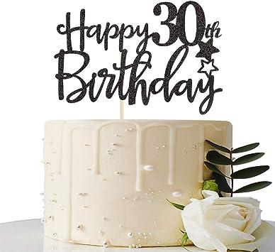 Amazon.com: Decoración para tarta de 30 cumpleaños, diseño ...