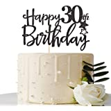 Black Happy 30th Birthday Cake Topper,Hello 30, Cheers to 30 Years,30 & Fabulous Party Decoration