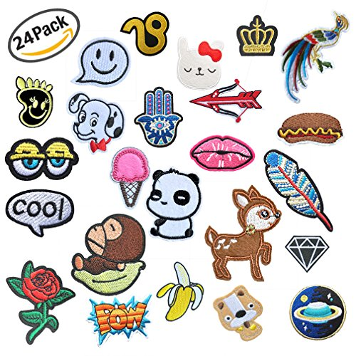 Viaky 24 Pcs Iron On Embroidered 2-14CM Assorted Size Motif Applique Glitter Sequin DIY Decoration Patches Sew on Patch Perfect for Jeans,Clothing,Jacket,Handbag,Shoes