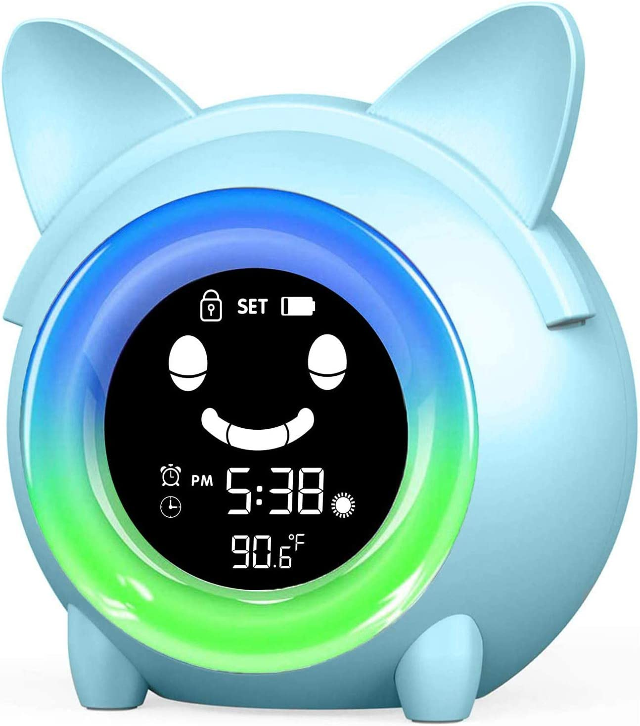 DingYue Time to Wake Reloj despertador para niños/niños Sleep Trainer/Kids Wake Up Light/Sleep Sound Machine/Colorido noche luz/termómetro interior/temporizador de siesta (gato)
