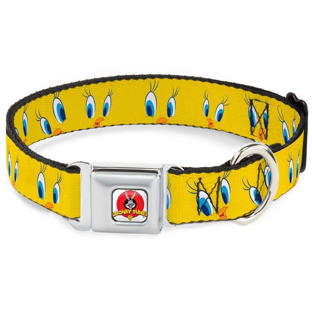 Tweety Bird Expressions2 1\ Tweety Bird Expressions2 1\ Buckle-Down Seatbelt Buckle Dog Collar Tweety Bird Expressions2-1  Wide Fits 15-26  Neck Large