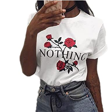 e81a96ceb0c Amazon.com: DHFashion Nothing Letter Rose Print T Shirt Harajuku ...