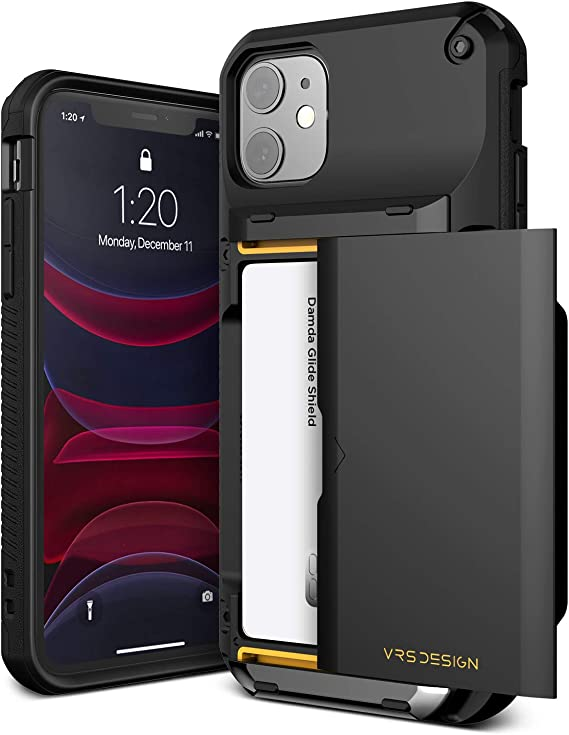 VRS DESIGN Damda Glide Pro Compatible for iPhone 11 Case, with [4 Cards] Premium Sturdy [Semi Auto] Credit Card Holder Slot Wallet for iPhone 11 6.1 inch(2019) Black