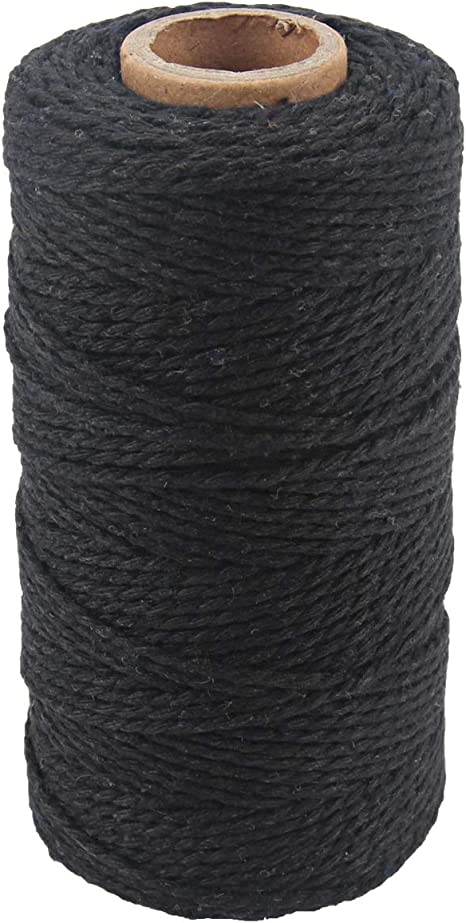 2 mm Black Garden Twine Decoration KINGLAKE 200 m Black Cotton Twine String Durable Packing String for DIY Craft Gift Wrapping