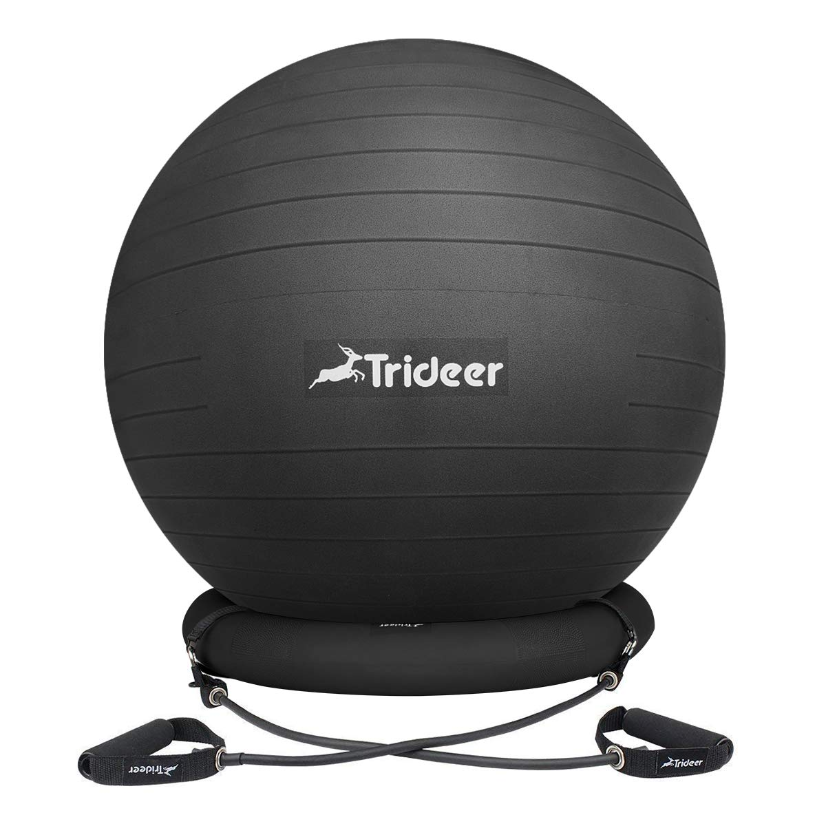 Trideer Ball Chair, Exercise Stability Yoga Ball with Base & Resistance Bands for Home and Office Desk, Flexible Ball Seat with Pump, Improves Balance, Core Strength & Posture (Black, 65cm)