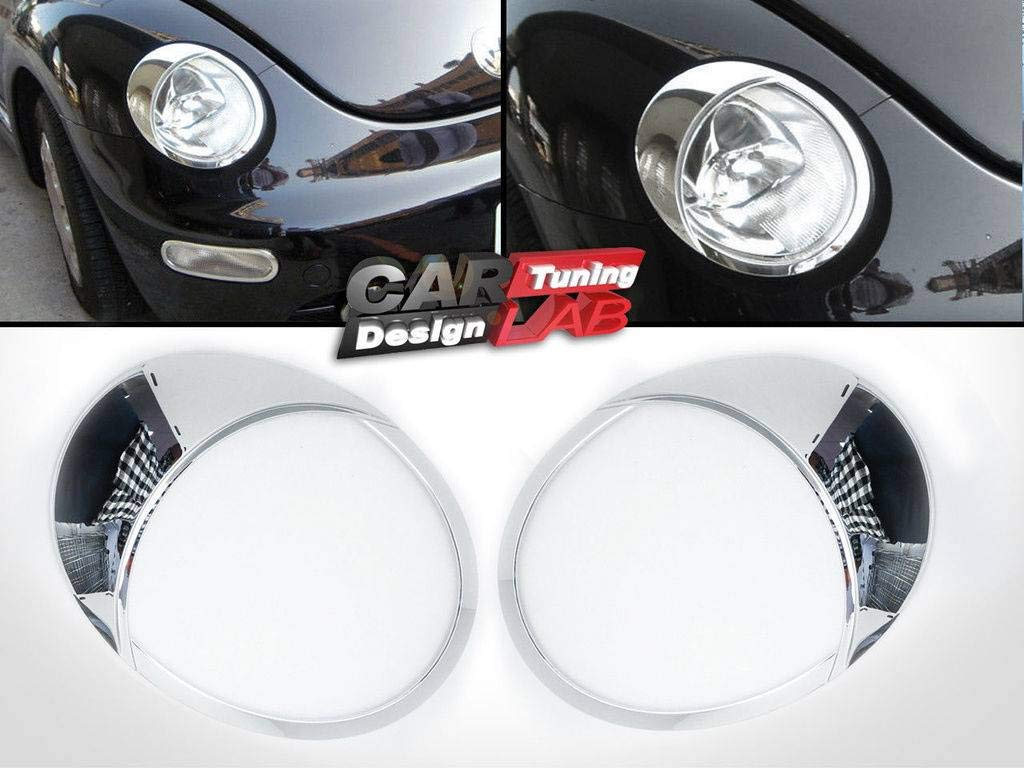 (2) Chrome Headlights Lamp Eye Lid Brows Eyelids Cover for 1999-2005 VW New Beetle CAR LAB