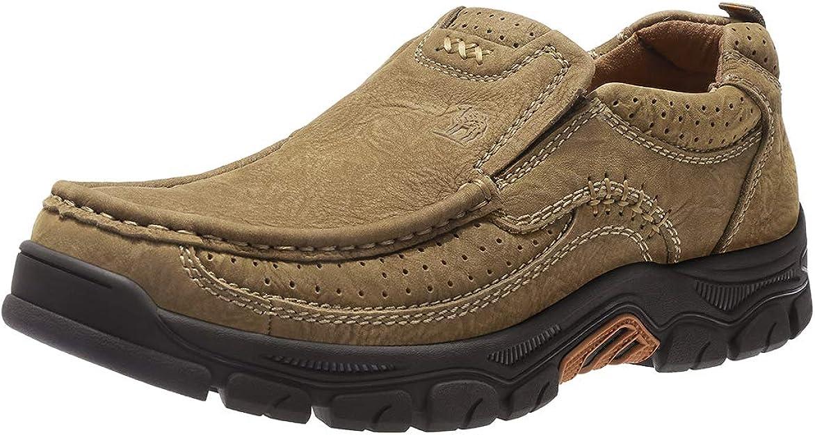 CAMEL CROWN Mocasines Hombre Piel Zapatos sin Cordones Cómodos Zapatos Vestir para Hombre Marrón Negro 41-47