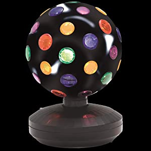Kicko Spinning Disco Ball with LED Lights - for Parties, Lighting, Halloween, Christmas, Flare - 11 Inches Tall, 1 Pack