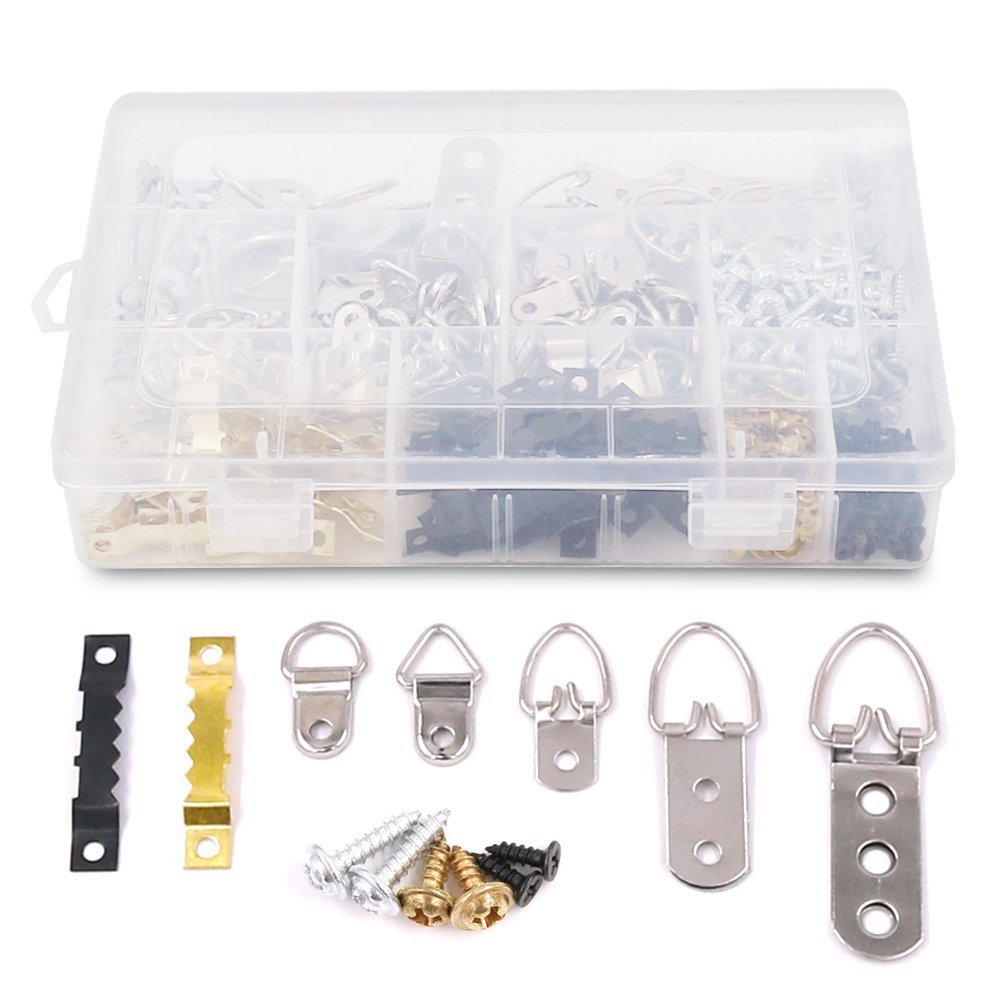 Swpeet 160 Pcs Heavy Duty Assorted Picture Hangers Kit with Screws, Picture Hangers Assortment Kit for Picture Hanging Solutions with Transparent Box - 7 Models