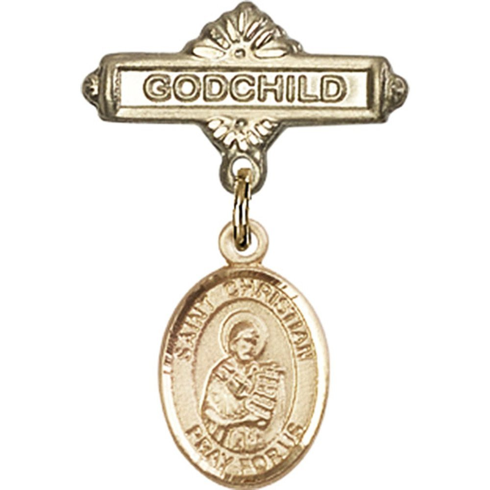 14kt Yellow Gold Baby Badge with St. Christian Demosthenes Charm and Godchild Badge Pin 1 X 5/8 inches by Unknown