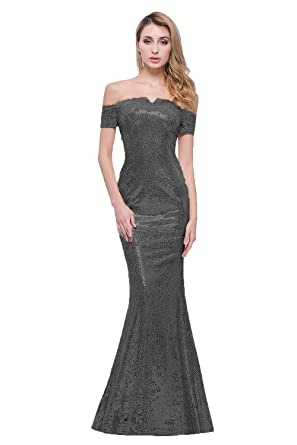 b924a85cc Honey Qiao Off The Shoulder Sequins Bridesmaid Dresses Long Women's Mermaid  Prom Evening Gowns Black